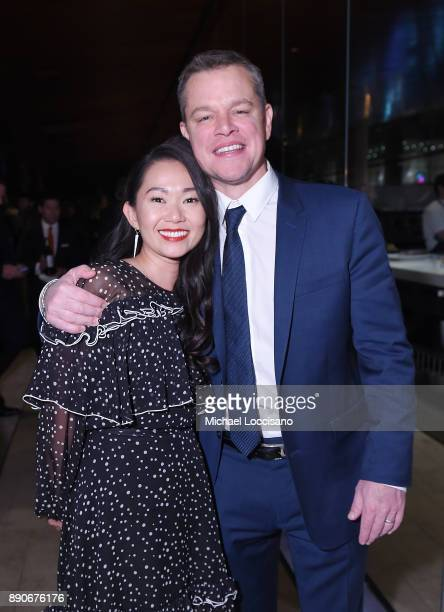Actors Hong Chau and Matt Damon attend the after party for the New York screening of 'Downsizing' at Lincoln Ristorante on December 11 2017 in New...