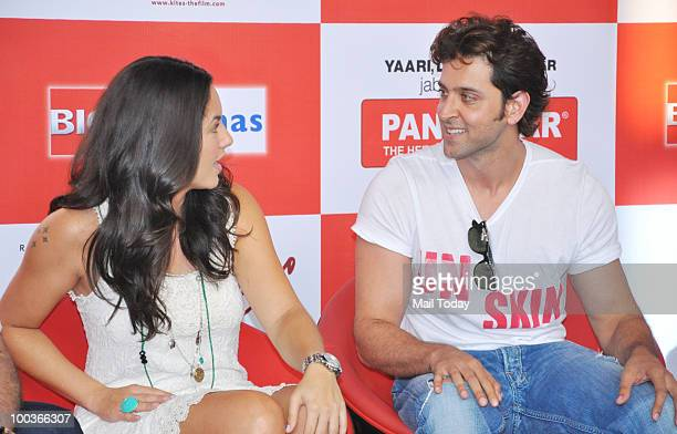 Actors Hrithik Roshan and Barbara Mori at a promotional event for the film Kites in Mumbai on May 22 2010