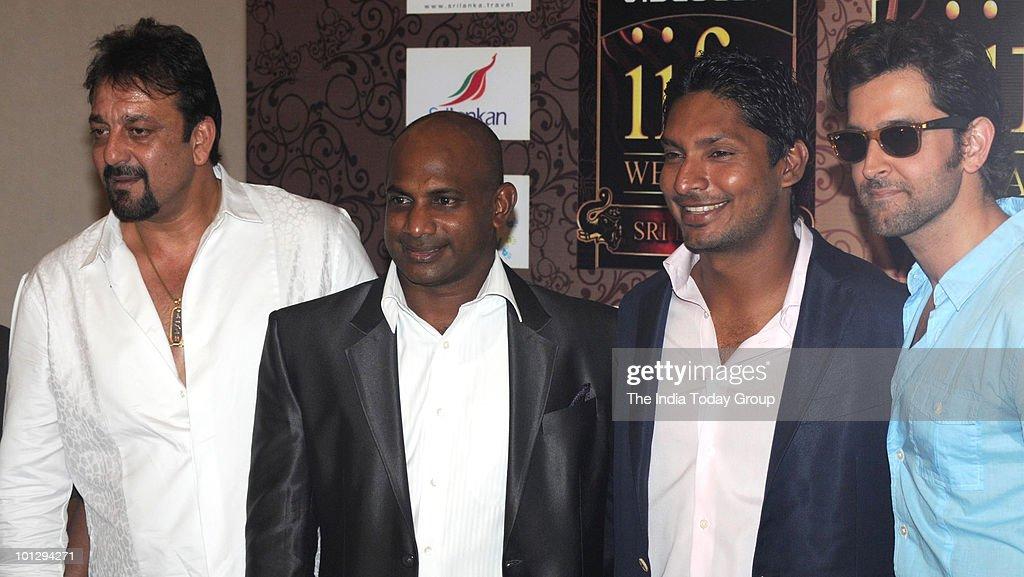 Actors Hrithik Roshan and Sanjay Dutt with Sri Lankan cricketers Kumar Sangakkara and Sanath Jayasuriya pose for the photographs for the forthcoming...