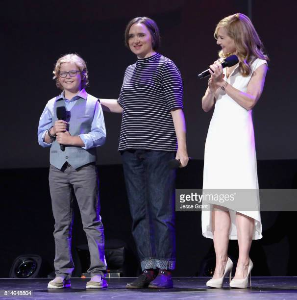 Actors Huck Milner Sarah Vowell and Holly Hunter of INCREDIBLES 2 took part today in the Walt Disney Studios animation presentation at Disney's D23...