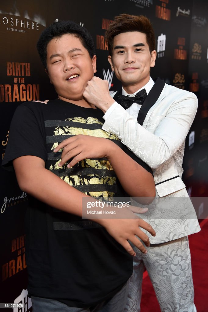 Actors Hudson Yang (L) and Philip Ng attend the Los Angeles special screening of Birth of the Dragon at ArcLight Cinemas on August 17, 2017 in Hollywood, California.