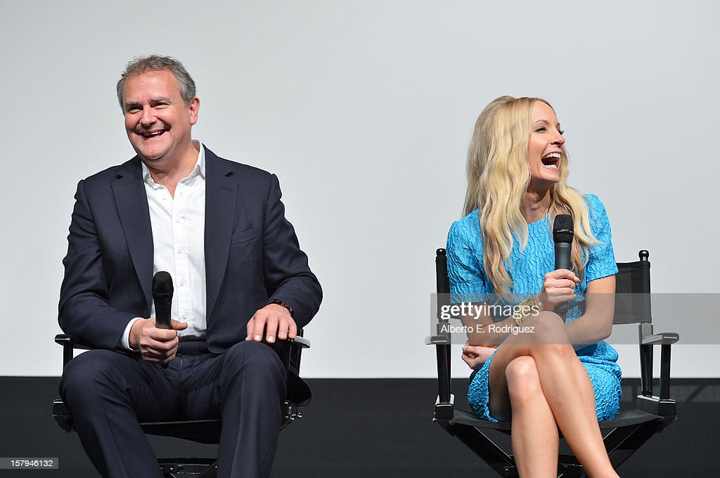 Actors <a gi-track='captionPersonalityLinkClicked' href=/galleries/search?phrase=Hugh+Bonneville&family=editorial&specificpeople=228840 ng-click='$event.stopPropagation()'>Hugh Bonneville</a> and <a gi-track='captionPersonalityLinkClicked' href=/galleries/search?phrase=Joanne+Froggatt&family=editorial&specificpeople=2364245 ng-click='$event.stopPropagation()'>Joanne Froggatt</a> share a laugh onstage during the Q&A session as part of The Hollywood Reporter screening of PBS Masterpiece's 'Downton Abbey' Season 3 on December 7, 2012 in West Hollywood, California.