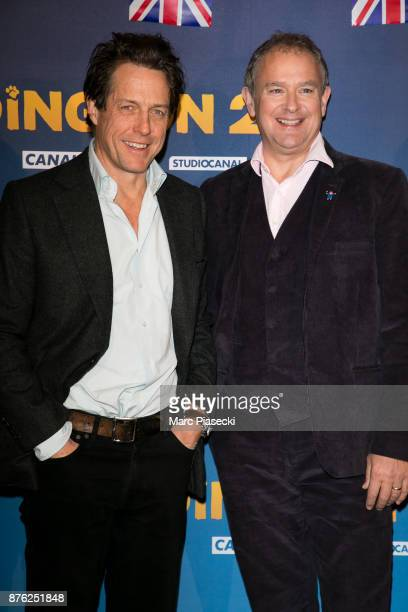 Actors Hugh Grant and Hugh Bonneville attend the 'Paddington II' Premiere at L'Olympia on November 19 2017 in Paris France