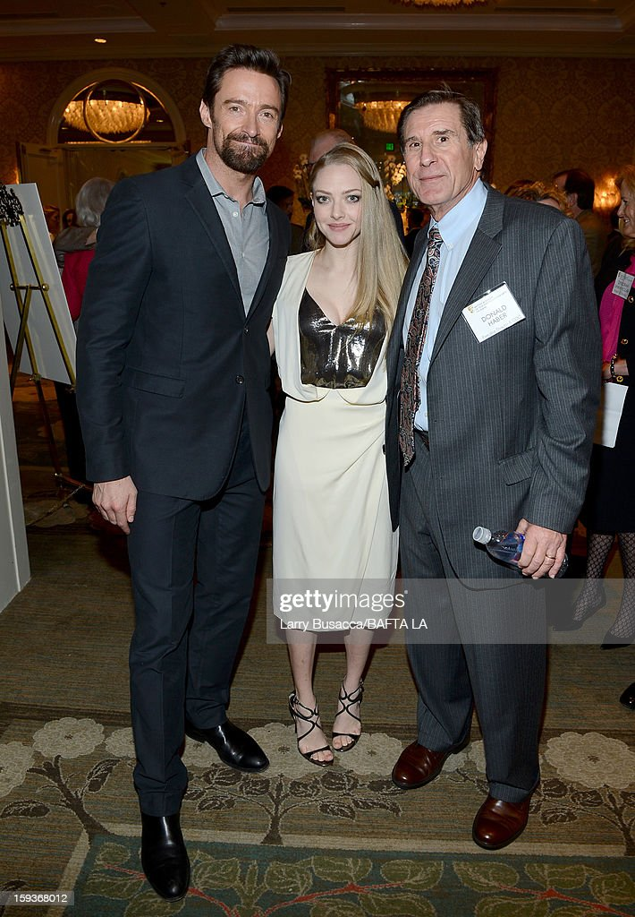 Actors Hugh Jackman and Amanda Seyfried and Donald Haber, Executive Director and COO, BAFTA attend the BAFTA Los Angeles 2013 Awards Season Tea Party held at the Four Seasons Hotel Los Angeles on January 12, 2013 in Los Angeles, California.