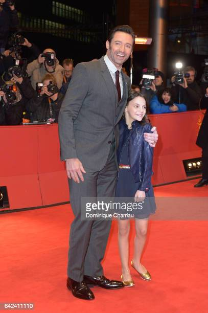 Actors Hugh Jackman and Dafne Keen attend the 'Logan' premiere during the 67th Berlinale International Film Festival Berlin at Berlinale Palace on...