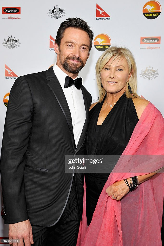 Actors <a gi-track='captionPersonalityLinkClicked' href=/galleries/search?phrase=Hugh+Jackman&family=editorial&specificpeople=202499 ng-click='$event.stopPropagation()'>Hugh Jackman</a> and <a gi-track='captionPersonalityLinkClicked' href=/galleries/search?phrase=Deborra-Lee+Furness&family=editorial&specificpeople=542814 ng-click='$event.stopPropagation()'>Deborra-Lee Furness</a> arrive at the 2013 G'Day USA Los Angeles Black Tie Gala at JW Marriott Los Angeles at L.A. LIVE on January 12, 2013 in Los Angeles, California.
