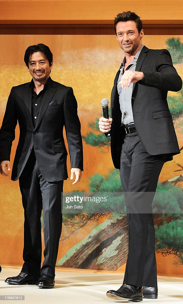 Actors <a gi-track='captionPersonalityLinkClicked' href=/galleries/search?phrase=Hugh+Jackman&family=editorial&specificpeople=202499 ng-click='$event.stopPropagation()'>Hugh Jackman</a> and <a gi-track='captionPersonalityLinkClicked' href=/galleries/search?phrase=Hiroyuki+Sanada&family=editorial&specificpeople=209049 ng-click='$event.stopPropagation()'>Hiroyuki Sanada</a> attend 'The Wolverine' press conference at the Meguro Gajyoen on August 29, 2013 in Tokyo, Japan.