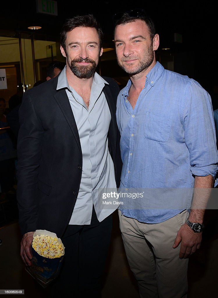 Actors <a gi-track='captionPersonalityLinkClicked' href=/galleries/search?phrase=Hugh+Jackman&family=editorial&specificpeople=202499 ng-click='$event.stopPropagation()'>Hugh Jackman</a> and <a gi-track='captionPersonalityLinkClicked' href=/galleries/search?phrase=Liev+Schreiber&family=editorial&specificpeople=203259 ng-click='$event.stopPropagation()'>Liev Schreiber</a> attend the premiere of the Weinstein Company's 'Escape From Planet Earth' held at the Mann Chinese 6 on February 2, 2013 in Los Angeles, California.