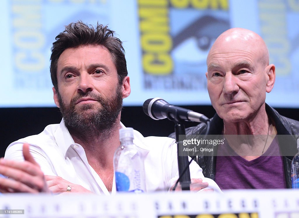Actors <a gi-track='captionPersonalityLinkClicked' href=/galleries/search?phrase=Hugh+Jackman&family=editorial&specificpeople=202499 ng-click='$event.stopPropagation()'>Hugh Jackman</a> (L) and <a gi-track='captionPersonalityLinkClicked' href=/galleries/search?phrase=Patrick+Stewart&family=editorial&specificpeople=203271 ng-click='$event.stopPropagation()'>Patrick Stewart</a> speak at the 20th Century Fox panel during Comic-Con International 2013 at San Diego Convention Center on July 20, 2013 in San Diego, California.