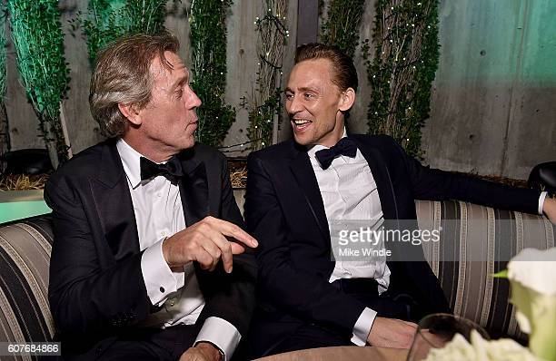 Actors Hugh Laurie and Tom Hiddleston attend AMC Networks Emmy Party at BOA Steakhouse on September 18 2016 in West Hollywood California
