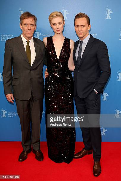 Actors Hugh Laurie Elizabeth Debicki and Tom Hiddleston attend the 'The Night Manager' premiere during the 66th Berlinale International Film Festival...
