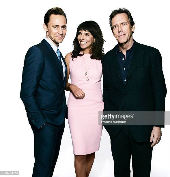 Actors Hugh Laurie Tom Hiddleston and director Susanne Bier is photographed of 'The Night Manager' for Variety on April 4 2016 in Los Angeles...