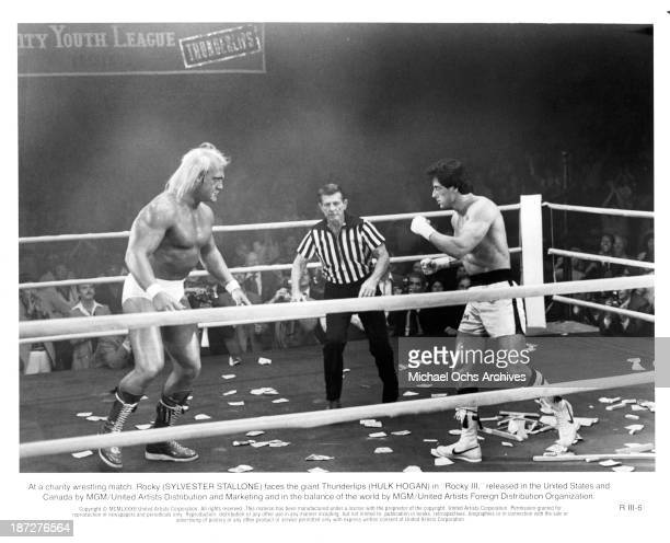 Actors Hulk Hogan and Sylvester Stallone on set of the MGM/United Artist movie 'Rocky III' in 1982