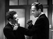 Actors Humphrey Bogart and Peter Lorre pose for a publicity still for the Warner Bros film 'The Maltese Falcon' in 1941 in Los Angeles California