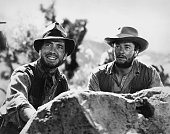 Actors Humphrey Bogart and Tim Holt pose for a publicity still for the Warner Bros/First National film 'The Treasure of the Sierra Madre' in 1948