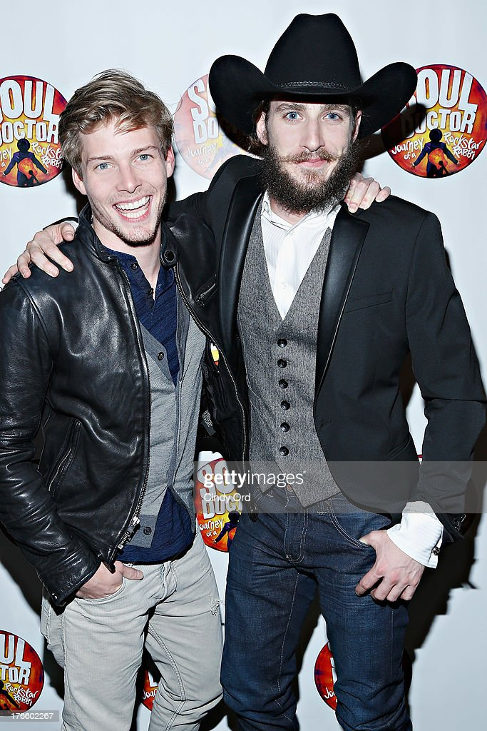 Actors <a gi-track='captionPersonalityLinkClicked' href=/galleries/search?phrase=Hunter+Parrish&family=editorial&specificpeople=960145 ng-click='$event.stopPropagation()'>Hunter Parrish</a> and JC Schuster attend the after party for the Broadway opening night of 'Soul Doctor' at the The Liberty Theatre on August 15, 2013 in New York City.