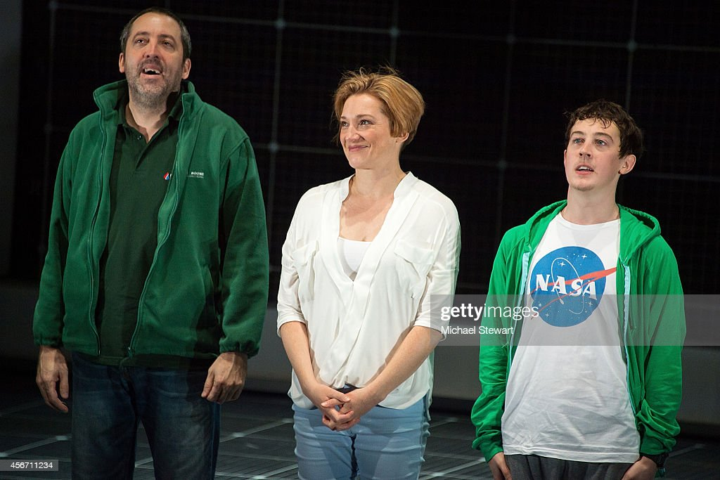 Actors Ian Barford, Francesca Faridany and Alex Sharp during curtain call at 'The Curious Incident Of The Dog In The Night-Time' Broadway Opening Night at The Ethel Barrymore Theatre on October 5, 2014 in New York City.