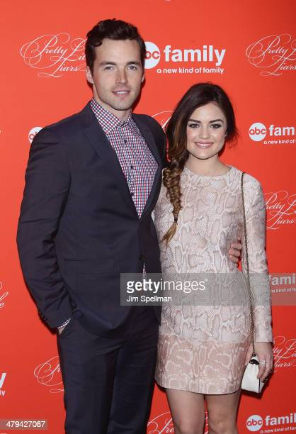 Actors Ian Harding and Lucy Hale attend the 'Pretty Little Liars' season finale screening at Ziegfeld Theater on March 18 2014 in New York City
