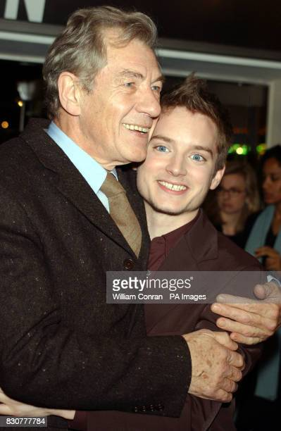 Actors Ian McKellen and Elijah Wood who play Gandalph and Frodo in the film arrive at the Odeon Leicester Square in London for the world premiere of...