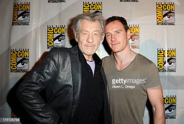 Actors Ian McKellen and Michael Fassbender appear at the 20th Century Fox 'XMen Days of Future Past' panel during ComicCon International 2013 at San...