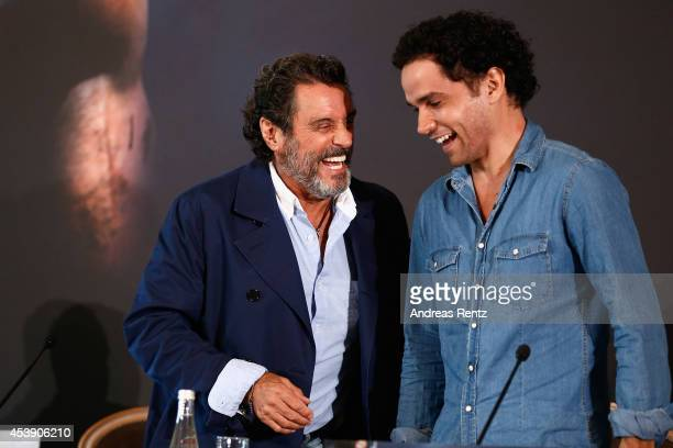 Actors Ian McShane and Reece Ritchie attend the press conference of Paramount Pictures 'HERCULES' at Hotel Adlon on August 21 2014 in Berlin Germany