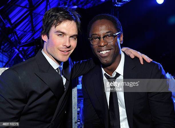 Actors Ian Somerhalder and Isaiah Washington attend the 19th Annual Critics' Choice Movie Awards at Barker Hangar on January 16 2014 in Santa Monica...