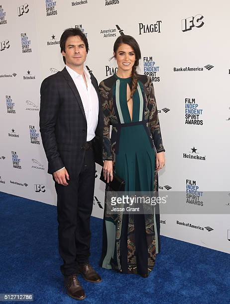Actors Ian Somerhalder and Nikki Reed attend the 2016 Film Independent Spirit Awards sponsored by Heineken on February 27 2016 in Santa Monica...