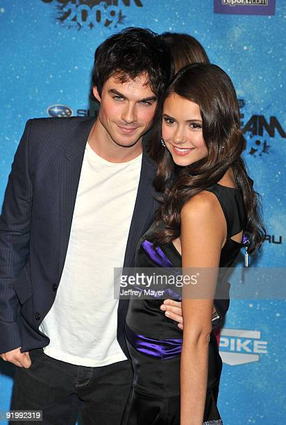 Actors Ian Somerhalder and Nina Dobrev arrive at the Spike TV's 'SCREAM 2009' Awards at The Greek Theatre on October 17 2009 in Los Angeles California