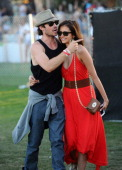Actors Ian Somerhalder and Nina Dobrev attend Day 3 of the 2012 Coachella Valley Music Arts Festival held at the Empire Polo Club on April 15 2012 in...