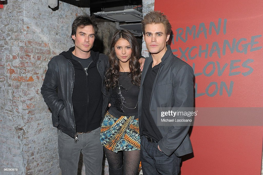 Actors Ian Somerhalder Nina Dobrev and Paul Wesley attend the 'Love Bites' dinner and after party to celebrate the February Vampire Diaries cover...