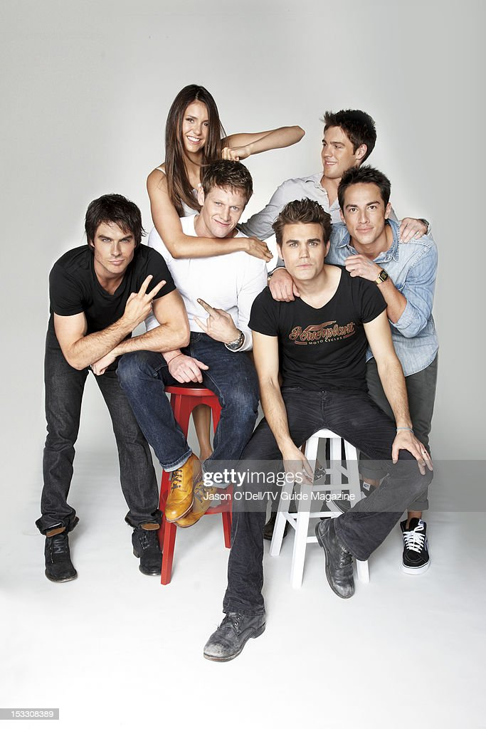 Actors Ian Somerhalder, Nina Dobrev, Zach Roerig, Paul Wesley, Steven R. McQueen and Michael Trevino are photographed for TV Guide Magazine on July 14, 2012 on the TV Guide Magazine Yacht in San Diego, California. PUBLISHED IMAGE.