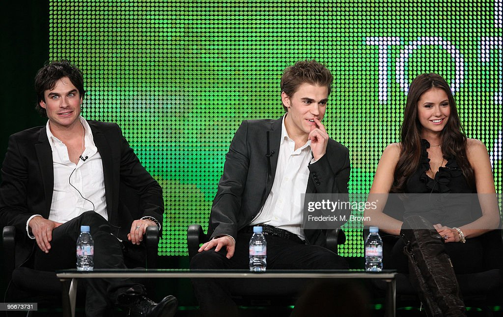 Actors Ian Somerhalder, Paul Wesley and Nina Dobrev speak onstage at the CW 'The Vampire Diaries' Q&A portion of the 2010 Winter TCA Tour day 1 at the Langham Hotel on January 9, 2010 in Pasadena, California.