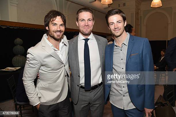 Actors Ian Somerhalder Stephen Amell and Grant Gustin attend the CW Network's 2015 Upfront at the London Hotel on May 14 2015 in New York City