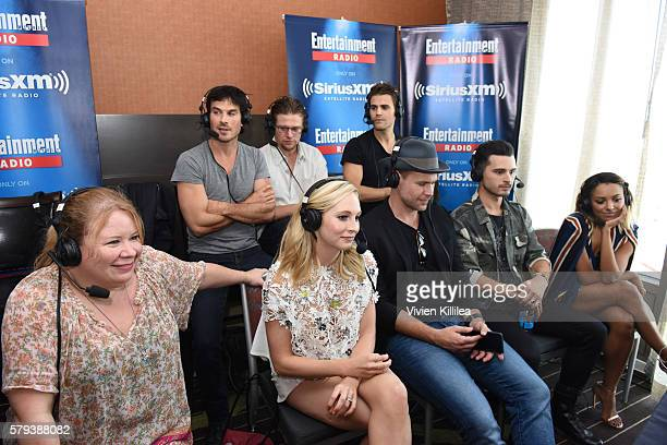 Actors Ian Somerhalder Zach Roerig and Paul Wesley writer and producer Julie Plec and actors Candice King Matt Davis Michael Malarkey and Kat Graham...