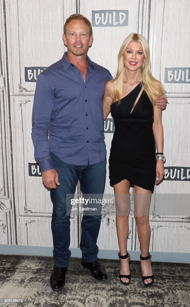 Actors Ian Ziering and Tara Reid attend Build to discuss the film 'Sharknado 5: Global Swarming' at Build Studio on August 3, 2017 in New York City.