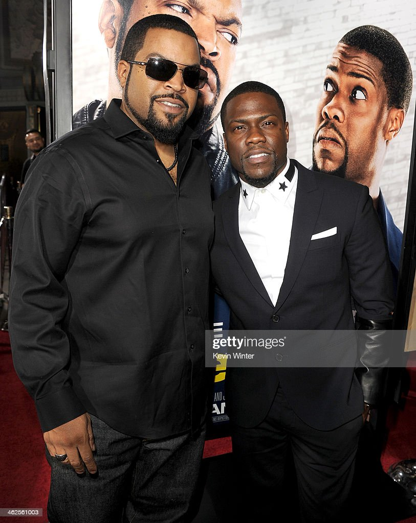 Actors Ice Cube and Kevin Hart attend the Premiere Of Universal Pictures' 'Ride Along' at TCL Chinese Theatre on January 13, 2014 in Hollywood, California.