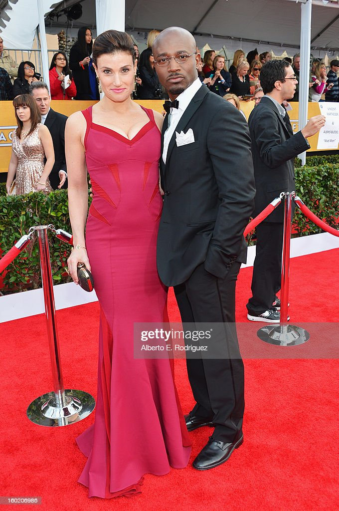 Actors Idina Menzel and Taye Diggs arrive at the 19th Annual Screen Actors Guild Awards held at The Shrine Auditorium on January 27 2013 in Los...