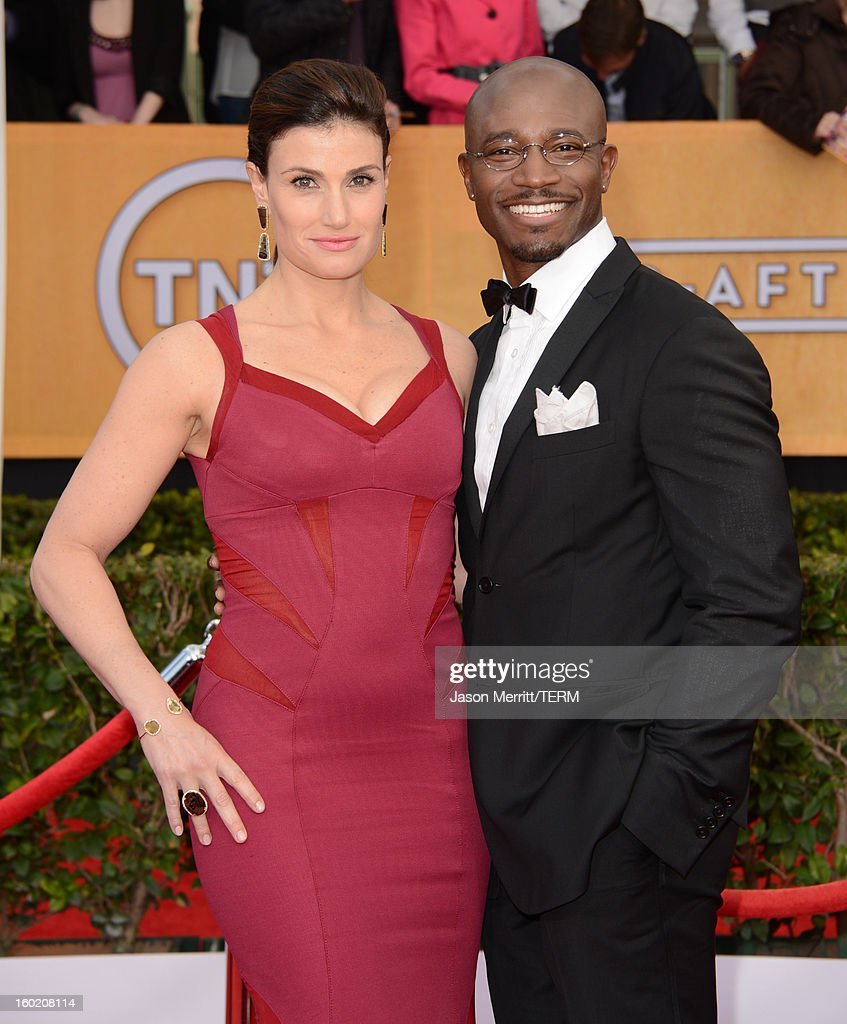Actors Idina Menzel and Taye Diggs attend the 19th Annual Screen Actors Guild Awards at The Shrine Auditorium on January 27 2013 in Los Angeles...