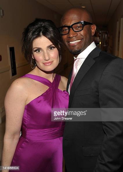 Actors Idina Menzel and Taye Diggs attend the 20th Anniversary Alzheimer's Association 'A Night at Sardi's' at The Beverly Hilton Hotel on March 21...
