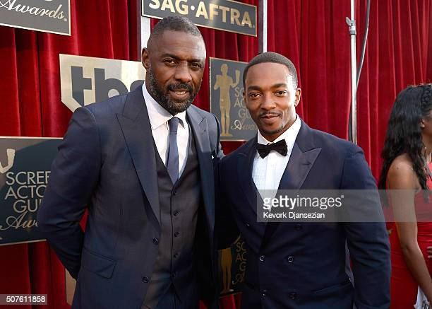Actors Idris Elba and Anthony Mackie attend the 22nd Annual Screen Actors Guild Awards at The Shrine Auditorium on January 30 2016 in Los Angeles...
