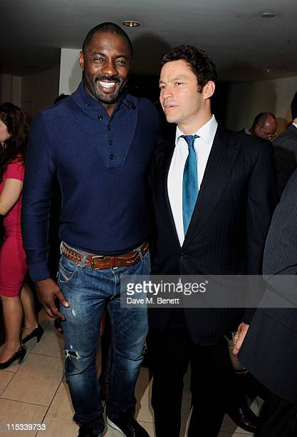Actors Idris Elba and Dominic West attend an after party following press night of the new West End production of Simon Gray's Butley at Axis at One...
