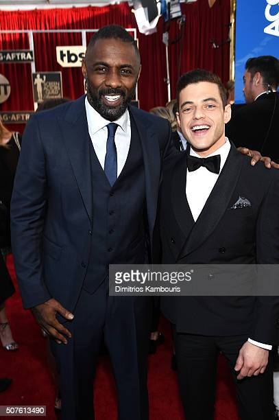 Actors Idris Elba and Rami Malek attend The 22nd Annual Screen Actors Guild Awards at The Shrine Auditorium on January 30 2016 in Los Angeles...