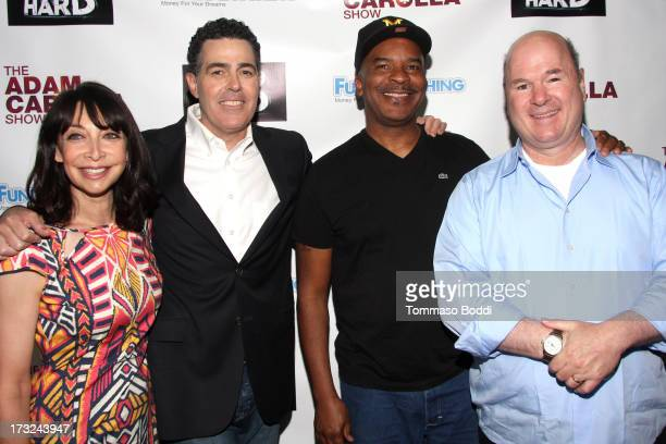 Actors Illeana Douglas Adam Carolla Alan Grier and Larry Miller attend the press conference announcing details of FundAnythingcom campaign for the...