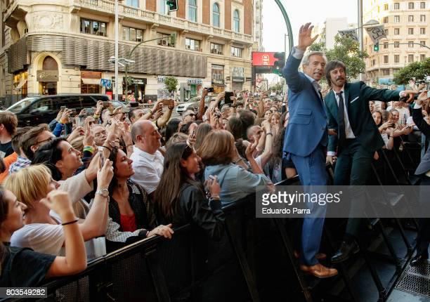 Actors Imanol Arias and Hugo Silva attend the 'Despido procedente' photocall at Callao cinema on June 29 2017 in Madrid Spain
