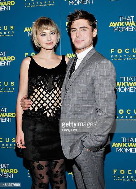 Actors Imogen Poots and Zac Efron attend the 'That Awkward Moment' screening at Sunshine Landmark on January 22 2014 in New York City