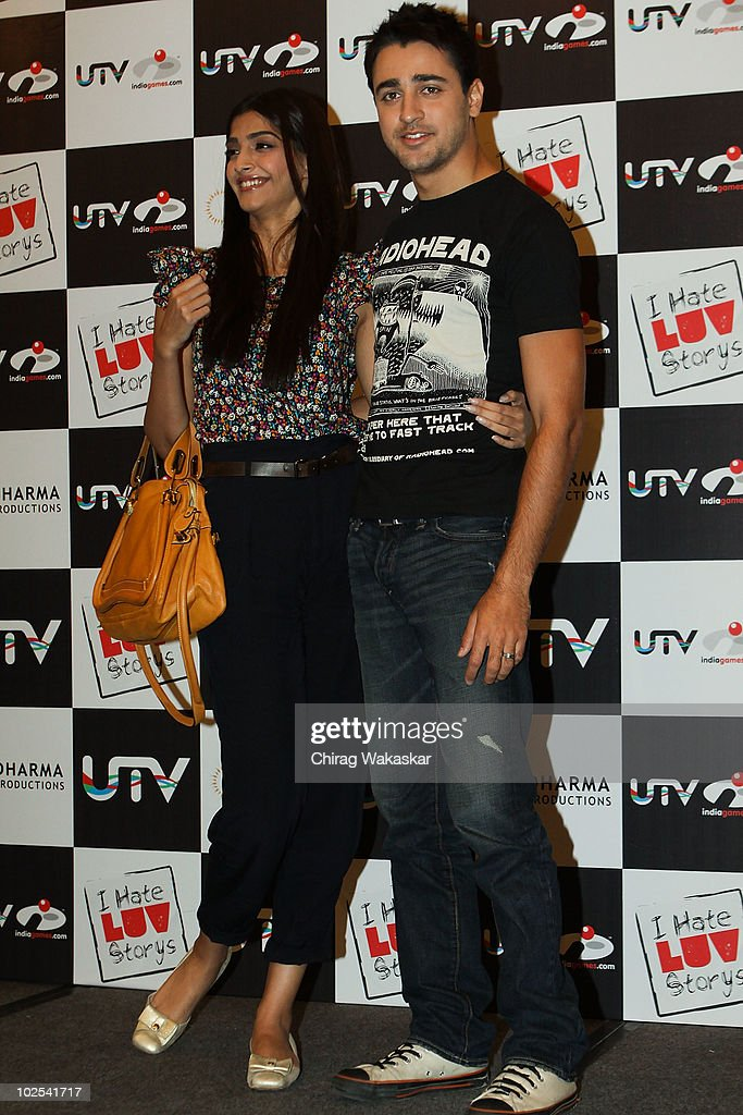 Actors <a gi-track='captionPersonalityLinkClicked' href=/galleries/search?phrase=Imran+Khan+-+Actor&family=editorial&specificpeople=13488791 ng-click='$event.stopPropagation()'>Imran Khan</a> and Sonam Anil Kapoor attend the launch of 'I Hate Luv Storys' game by UTV IndiaGames at Hotel JW Mariott on June 30, 2010 in Mumbai, India.