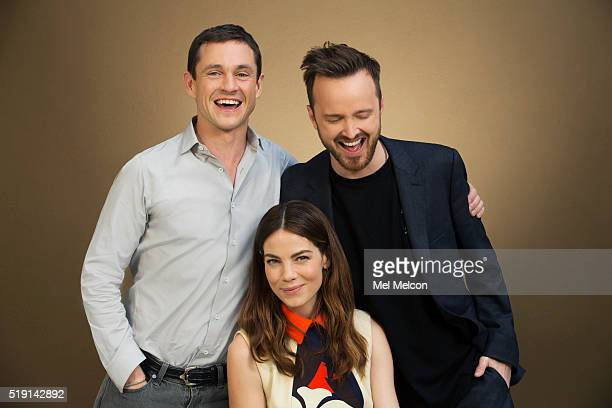 Actors in Hulu's 'The Path' Aaron Paul Hugh Dancy and Michelle Monaghan are photographed for Los Angeles Times on March 21 2016 in Los Angeles...