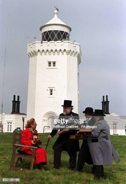 Actors in period costume gather at the South Foreland Lighthouse in Dover to mark the centenary of the first international broadcast by Guglielmo...