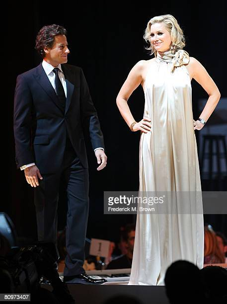 Actors Ioan Gruffudd and Alice Evans walk the runway during a fashion show at the 15th Annual Race to Erase MS at the Hyatt Regency Century Plaza...