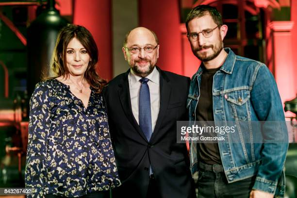 Actors Iris Berben and Clemens Schick and Martin Schulz SPD Party Leader and Top Candidate for 2017 Federal Election attend Kulturforum reception on...